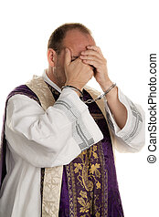 Abuse in the church. Pastor handcuffed - Icon image abuse in...