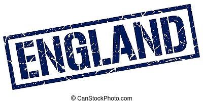 England blue square stamp