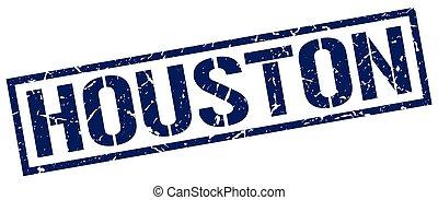 Houston blue square stamp