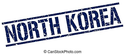North Korea blue square stamp