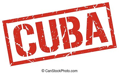 Cuba red square stamp
