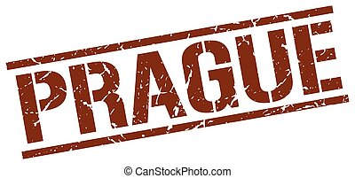 Prague brown square stamp