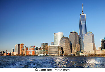 Downtown New York skyline panorama from Liberty State park,...
