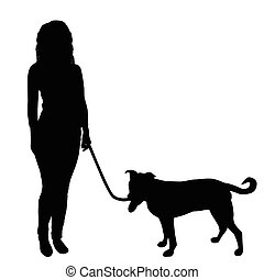 Women walking a dog