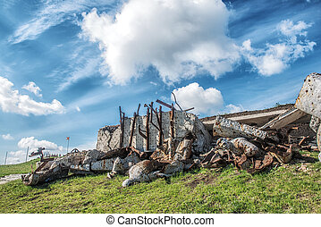 Monument to Soviet soldiers, destroyed after the hostilities...
