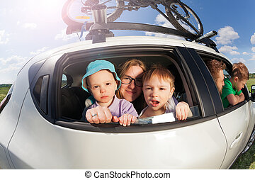 Big happy family going on vacation trip in summer - Big...