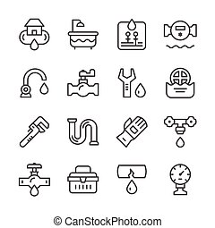 Set line icons of plumbing isolated on white Vector...