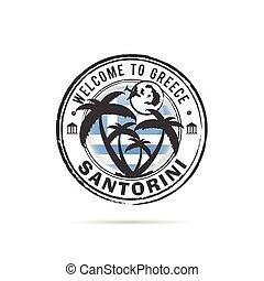 grunge rubber stamp Santorini with Greek flag illustration...