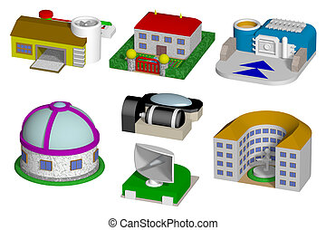 Toy buildings isolated on white background