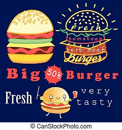 Delicious big burgers - Graphic advertising burgers bright...