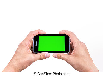 hand of man use mobile smart phone for shot a photo with...
