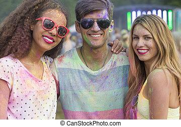 Enjoying a color festival together