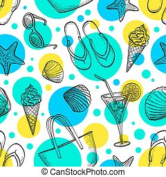 Sea seamless pattern - Summer seamless pattern. Hand drawn...
