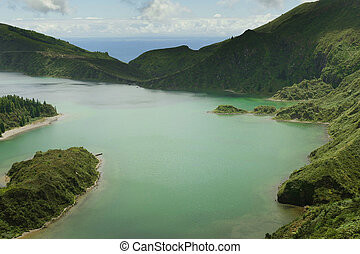 amazing landscape view crater volcano lake in Sao Miguel island of Azores in Portugal in turquoise color water