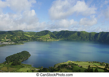 amazing beautiful landscape Blue Lake Lagoa Azul in Sete...