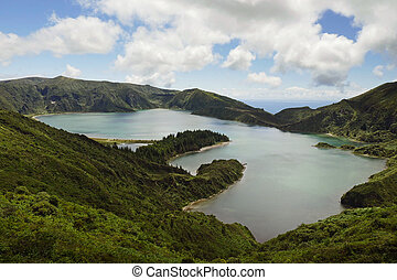 amazing landscape view crater volcano lake in Sao Miguel...