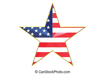 star with USA flag, 3D rendering