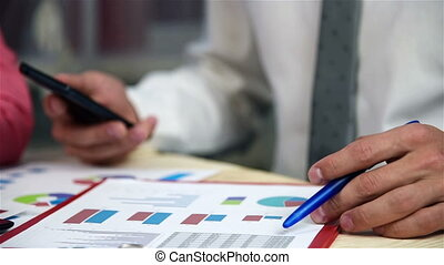 Employees Analyze Budget - Employees In The Office Analyze...