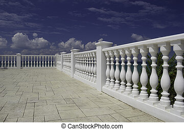 White decorative fence on the waterfront of Black sea -...