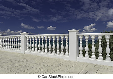 White decorative fence on the waterfront of Anapa resort -...