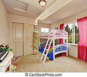 Nice beige kids bedroom with bunk bed - Nice beige kids...