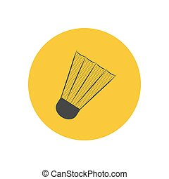 Shuttlecock silhouette illustration on the yellow...