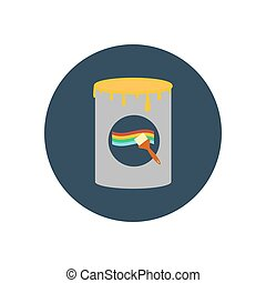 Paint can illustration on the blue background. Vector...