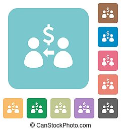 Flat receive Dollar icons on rounded square color...