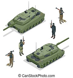 Tank american and soldiers. Vector isometric illustration. Flat 3d isometric high quality military vehicles machinery transport.