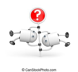Two robots turning on the question mark