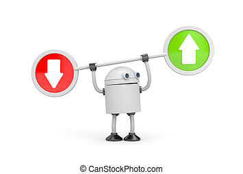 Robot with arrows. 3d illustration