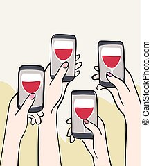 girls night out - Illustration of female hands holding...