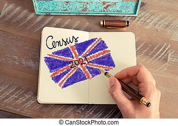 Census 2021 United Kingdom written on notebook page