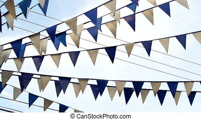 Pennant Flags Blue and White Pan