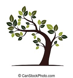 Color Crooked Tree. Vector Illustration.