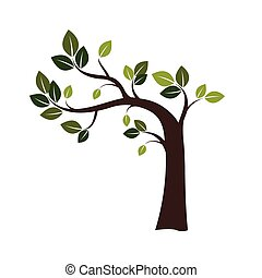 Color Crooked Tree Vector Illustration