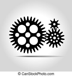 Black gears. Vector Illustration.