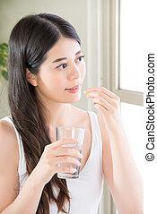 beautiful asian women drinking water eat nutritional...