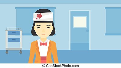 Woman with injured head vector illustration. - An asian...
