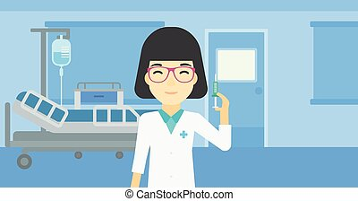 Doctor with syringe in hospital ward - An asian female...