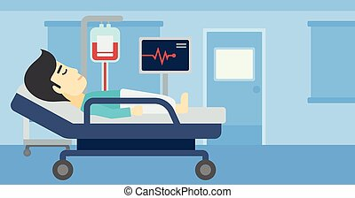 Man lying in hospital bed vector illustration.