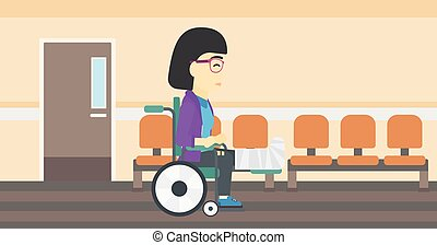 Woman with broken leg sitting in wheelchair. - An asian...