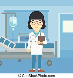 Doctor with file vector illustration. - An asian friendly...