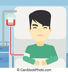 Patient lying in hospital bed vector illustration - An asian...