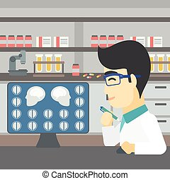 Doctor analyzing MRI scan vector illustration - An asian...