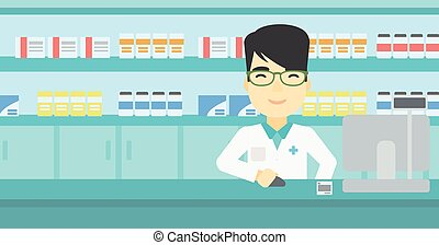 Pharmacist at counter with cash box. - An asian young...