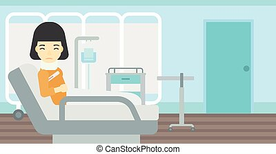 Woman with neck injury vector illustration. - An asian woman...