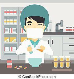 Pharmacist preparing medication. - An asian young pharmacist...