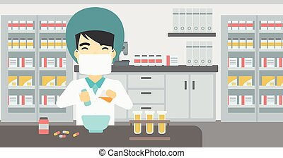 Pharmacist preparing medication - An asian young pharmacist...