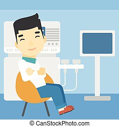 Male ultrasound doctor vector illustration - An asian male...